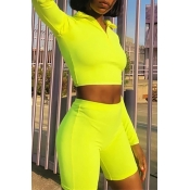 Lovely Casual Turndown Collar Green Two-piece Shor