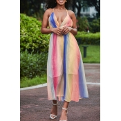Lovely Trendy Striped Backless Multicolor Mid Calf