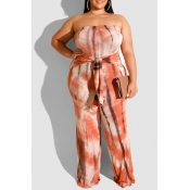 Lovely Casual Off The Shoulder Orange Plus Size On