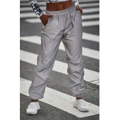 Lovely Casual Pockets Design Silver Pants(Nonelast