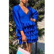 Lovely Chic Flounce Design Royal Blue Mini Dress