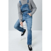 Lovely Casual Pocket Patched Deep Blue Jeans