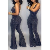Lovely Trendy Sleeveless Black Flared One-piece Jumpsuit