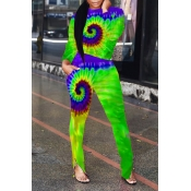 Lovely Trendy Printed Green Two-piece Pants Set