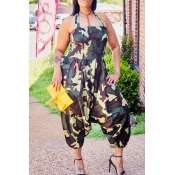 Lovely Leisure Camouflage Printed One-piece Jumpsu
