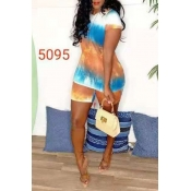 Lovely Casual O Neck Printed Multicolor Two-piece