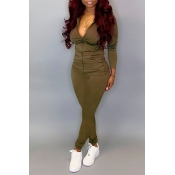 Lovely Casual Hooded Collar Army Green Two-piece Pants Set