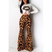 Lovely Casual Leopard Printed Brown Two-piece Pants Set