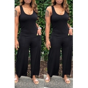 Lovely Casual Pocket Patched  Black One-piece Jumpsuit