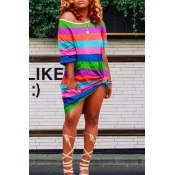 Lovely Casual Striped Printed Green Knee Length Dress
