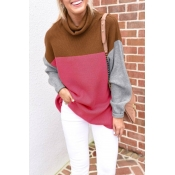 Lovely Color-lump Patchwork Rose Red Sweater