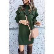 Lovely Turtleneck Flounce Design Green Mini Dress