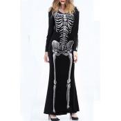 Lovely Trendy Skull Printed Black Ankle Length Dre