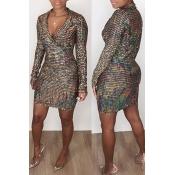 Lovely Chic Turndown Collar Brown Mini Dress