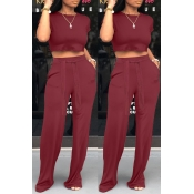 Lovely Leisure O Neck Lace-up Wine Red Two-piece P