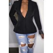 Lovely Casual Tassel Design Black Blazer