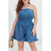 Lovely Trendy Flounce Design Blue Plus Size One-piece Romper
