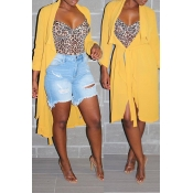 Lovely Casual Lace-up Yellow Coat