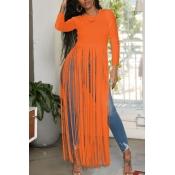 Lovely Casual O Neck Letter Printed Tassel Design Orange Blouse