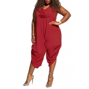 Lovely Casual Sleeveless Loose Wine Red Plus Size