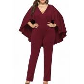 Lovely Casual Cloak Design Wine Red Plus Size One-