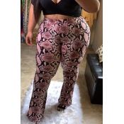 Lovely Casual Printed Light Pink Plus Size Pants