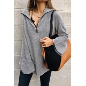 Lovely Turndown Collar Zipper Grey Sweater