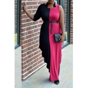 Lovely Work Patchwork Red Ankle Length Dress(Witho