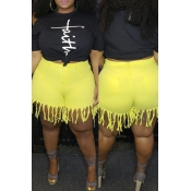 Lovely Casual Tassel Design Yellow Plus Size Shorts