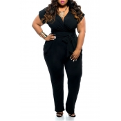 Lovely Trendy V Neck Black Plus Size One-piece Jum