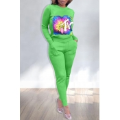 Lovely Casual Printed Green Two-piece Pants Set