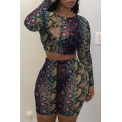 Lovely Casual Printed Multicolor Two-piece Shorts