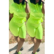 Lovely Casual Hooded Collar Flounce Design Green Two-piece Shorts Set