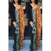 Lovely Casual Patchwork Multicolor Floor Length Dress