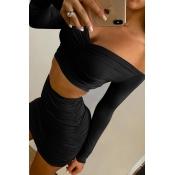 Lovely Casual Dew Shoulder Black Two-piece Skirt Set