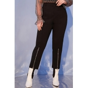 Lovely Casual Zipper Design Black Plus Size Leggin