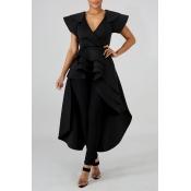 Lovely Work Asymmetrical Black Blouse