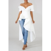Lovely Work Asymmetrical White Blouse