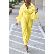 Lovely Trendy Pocket Patched Yellow One-piece Jumpsuit