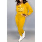 Lovely Trendy Letter Printed Yellow Two-piece Pants Set