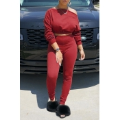 Lovely Chic Off The Shoulder Basic Red Two-piece Pants Set