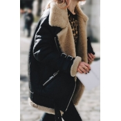 Lovely Casual Patchwork Black Coat