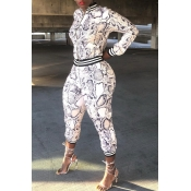 Lovely Casual Patchwork Snakeskin Printed Two-piece Pants Set