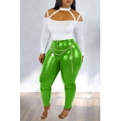Lovely Chic Hollow-out Green Two-piece Pants Set