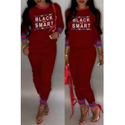 Lovely Casual Letter Printed Wine Red Two-piece Pa
