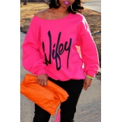 Lovely Casual Letter Printed Rose Red Sweatshirt H
