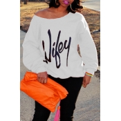 Lovely Casual Letter Printed White Sweatshirt Hoodie