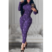 Lovely Casual Letter Printed Purple Two-piece Pants Set