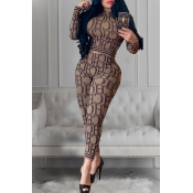 Lovely Casual Letter Printed Khaki Two-piece Pants