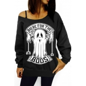Lovely Casual Printed Black Sweatshirt Hoodies